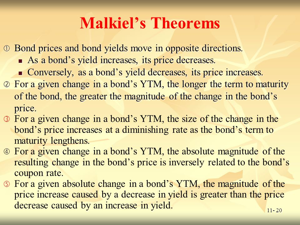 Malkiel's Theorems Bond prices and bond yields move in opposite directions. As a bond's yield increases, its price decreases.
