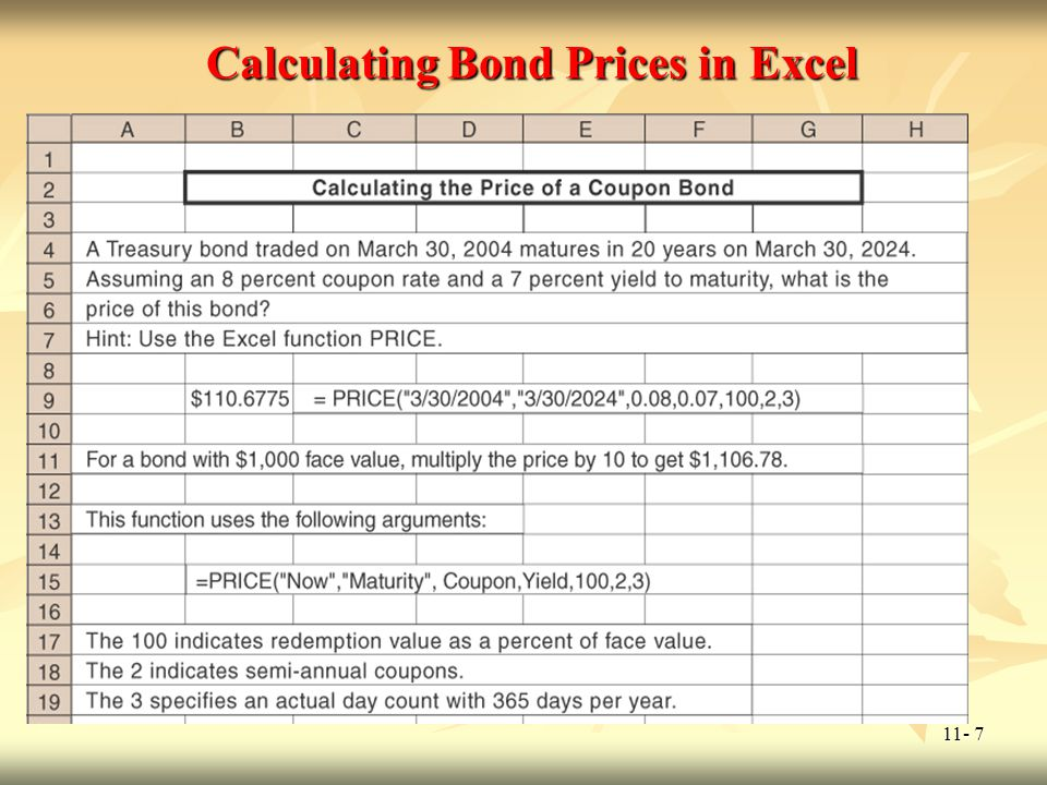 Calculating Bond Prices in Excel