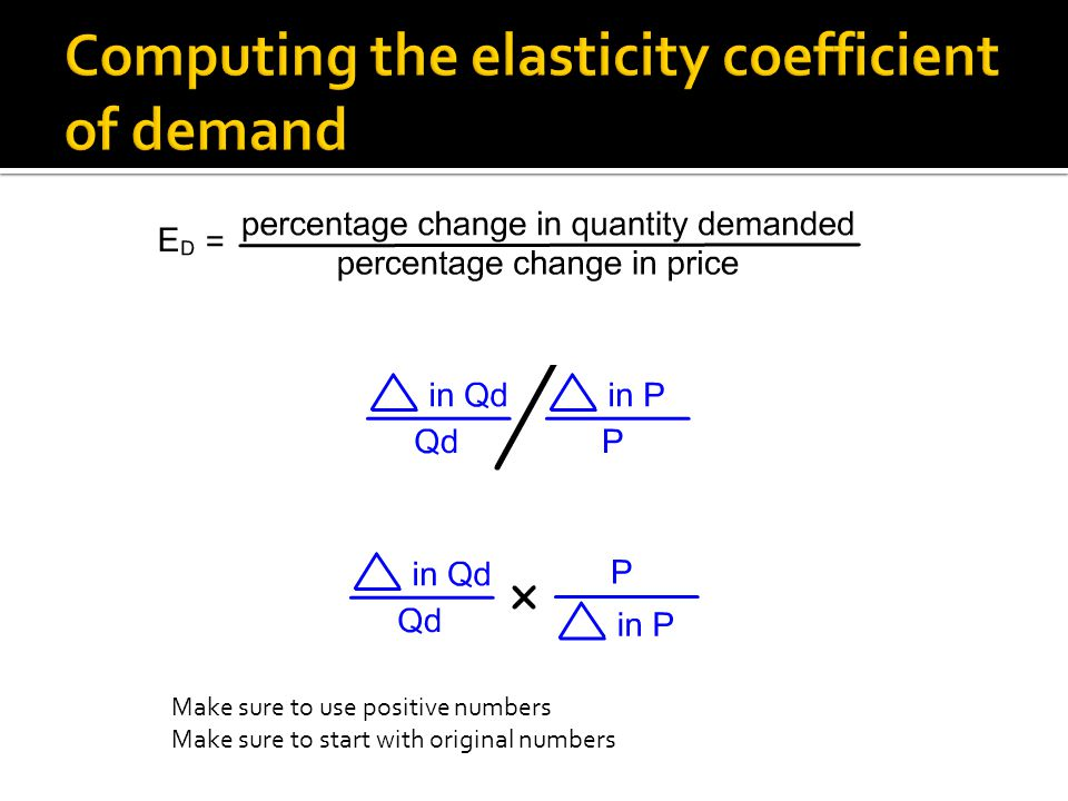 Computing the elasticity coefficient of demand