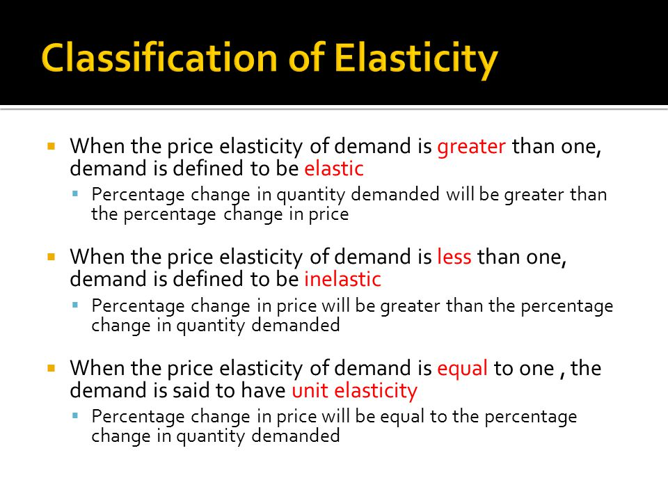 Classification of Elasticity