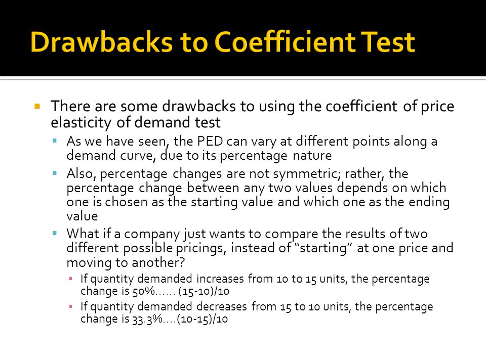 Drawbacks to Coefficient Test