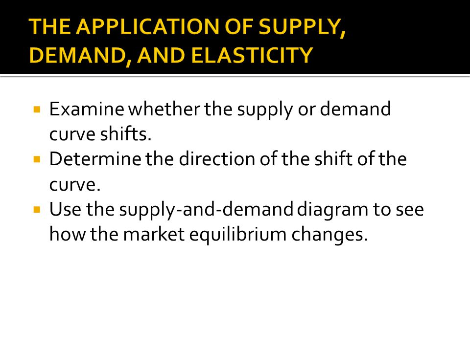 THE APPLICATION OF SUPPLY, DEMAND, AND ELASTICITY
