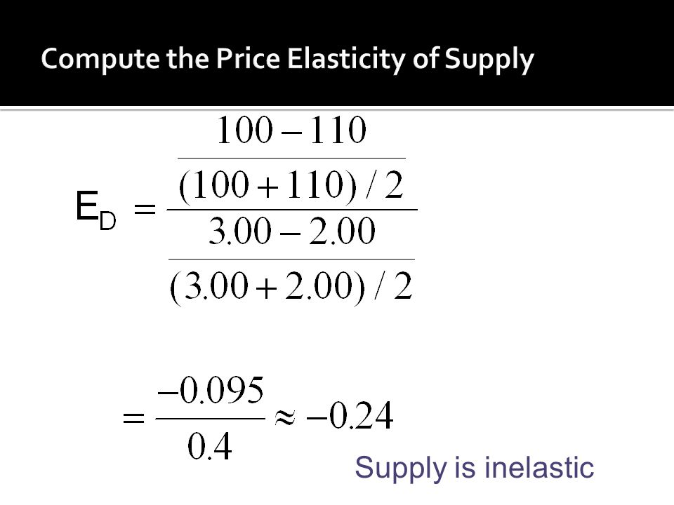 Compute the Price Elasticity of Supply