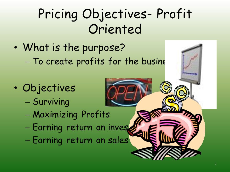 Pricing Objectives- Profit Oriented