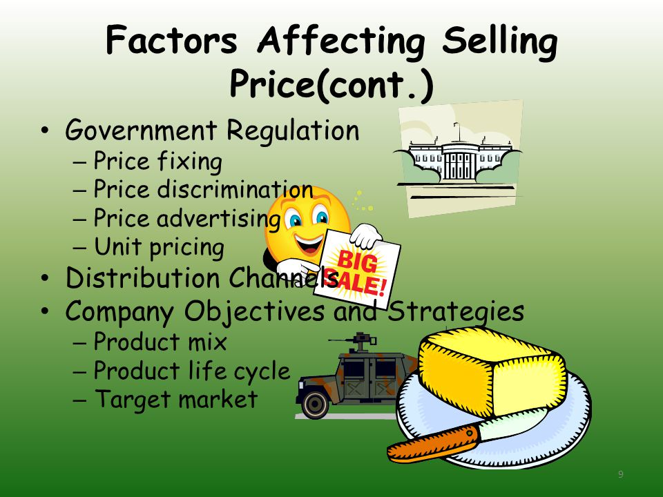 Factors Affecting Selling Price(cont.)