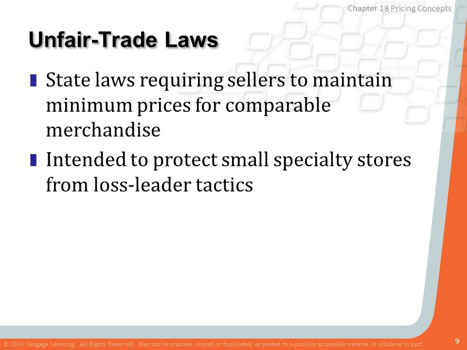 Unfair-Trade Laws State laws requiring sellers to maintain minimum prices for comparable merchandise.