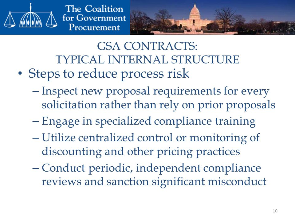GSA CONTRACTS: TYPICAL INTERNAL STRUCTURE