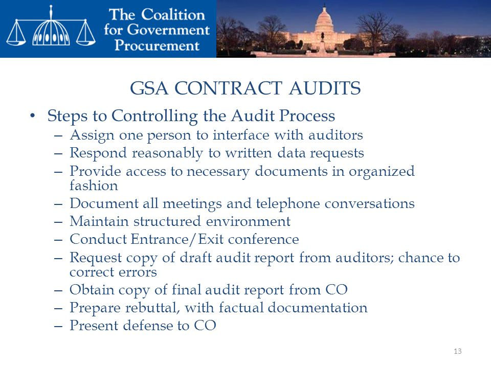 GSA CONTRACT AUDITS Steps to Controlling the Audit Process