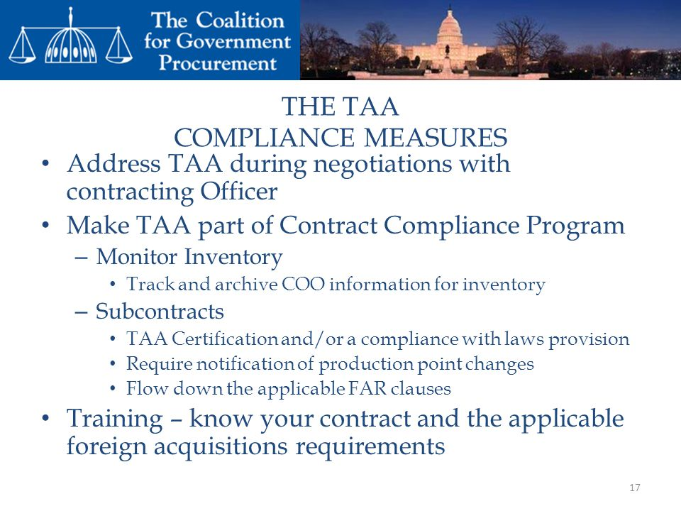 THE TAA COMPLIANCE MEASURES