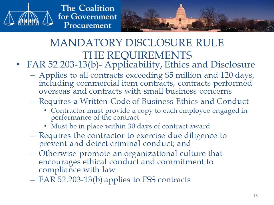 MANDATORY DISCLOSURE RULE THE REQUIREMENTS