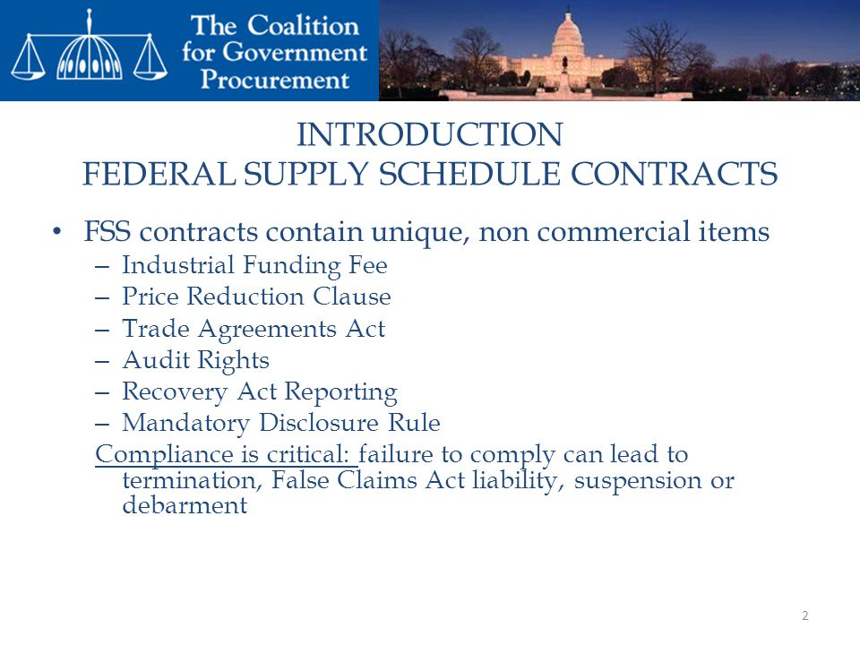 INTRODUCTION FEDERAL SUPPLY SCHEDULE CONTRACTS