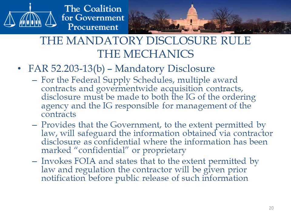THE MANDATORY DISCLOSURE RULE THE MECHANICS