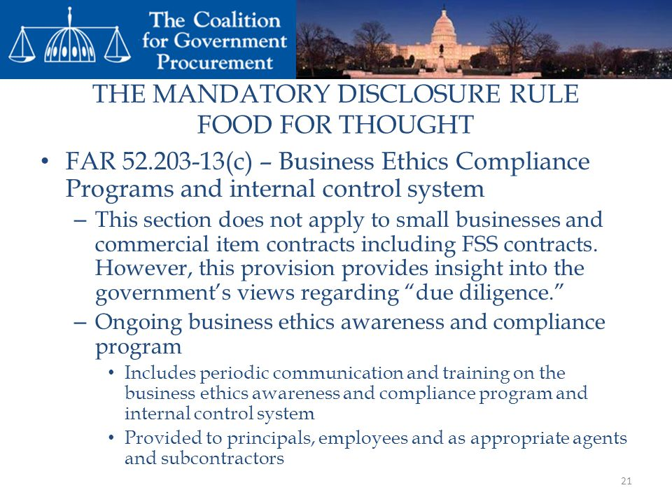 THE MANDATORY DISCLOSURE RULE FOOD FOR THOUGHT