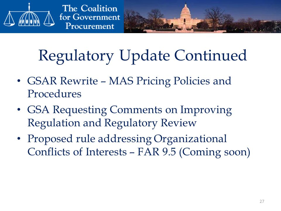 Regulatory Update Continued
