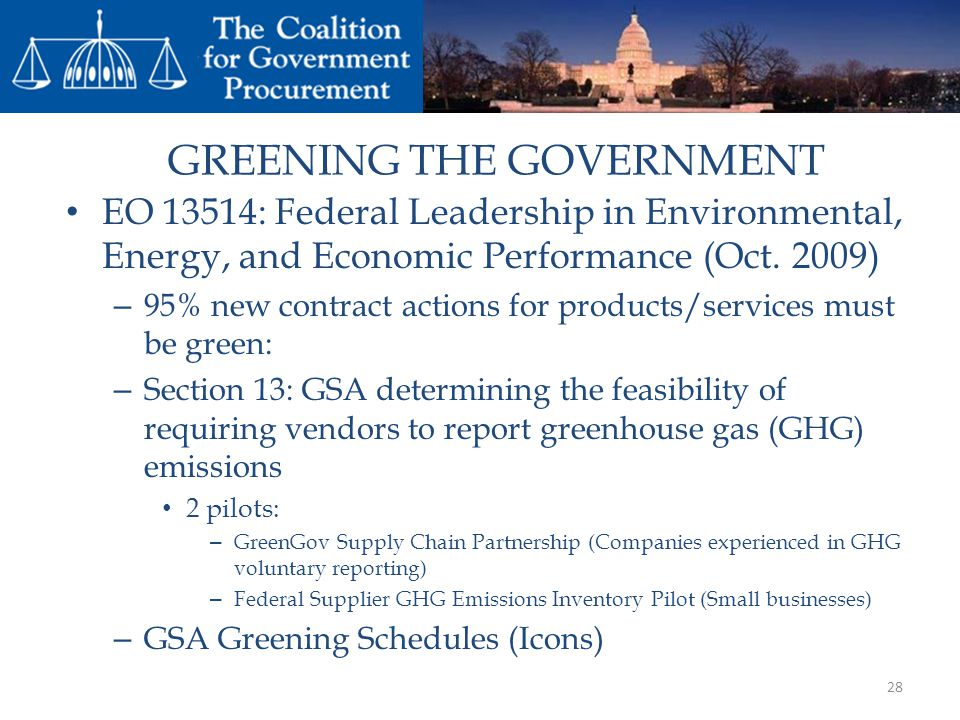 GREENING THE GOVERNMENT
