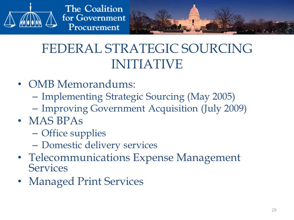FEDERAL STRATEGIC SOURCING INITIATIVE