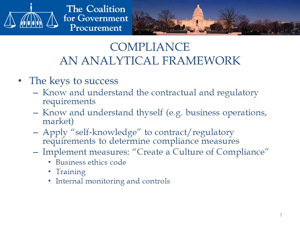 COMPLIANCE AN ANALYTICAL FRAMEWORK