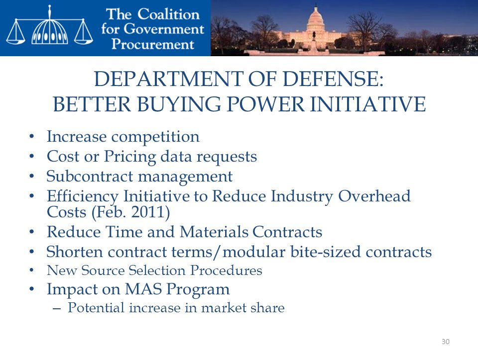 DEPARTMENT OF DEFENSE: BETTER BUYING POWER INITIATIVE