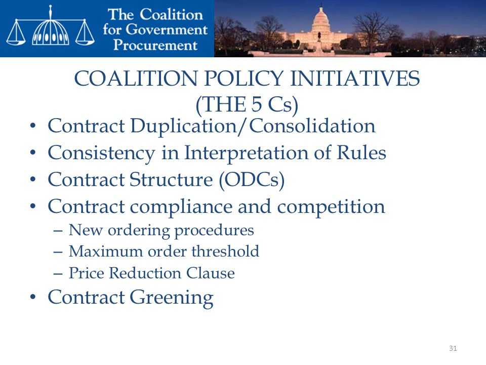 COALITION POLICY INITIATIVES (THE 5 Cs)