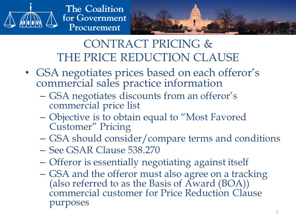 CONTRACT PRICING & THE PRICE REDUCTION CLAUSE