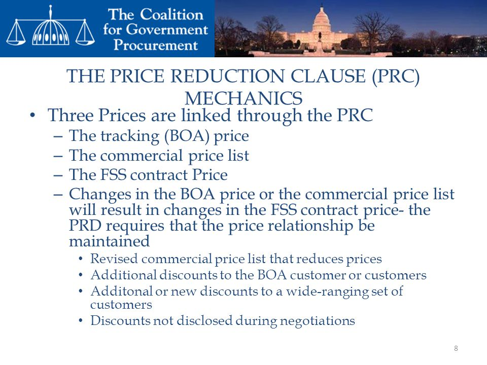 THE PRICE REDUCTION CLAUSE (PRC) MECHANICS