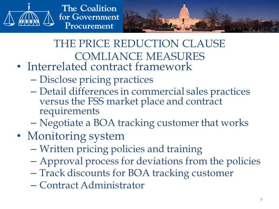 THE PRICE REDUCTION CLAUSE COMLIANCE MEASURES