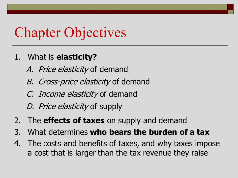 Chapter Objectives What is elasticity Price elasticity of demand