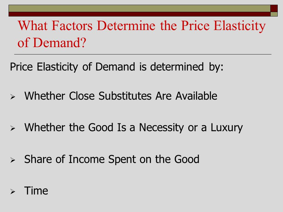 What Factors Determine the Price Elasticity of Demand