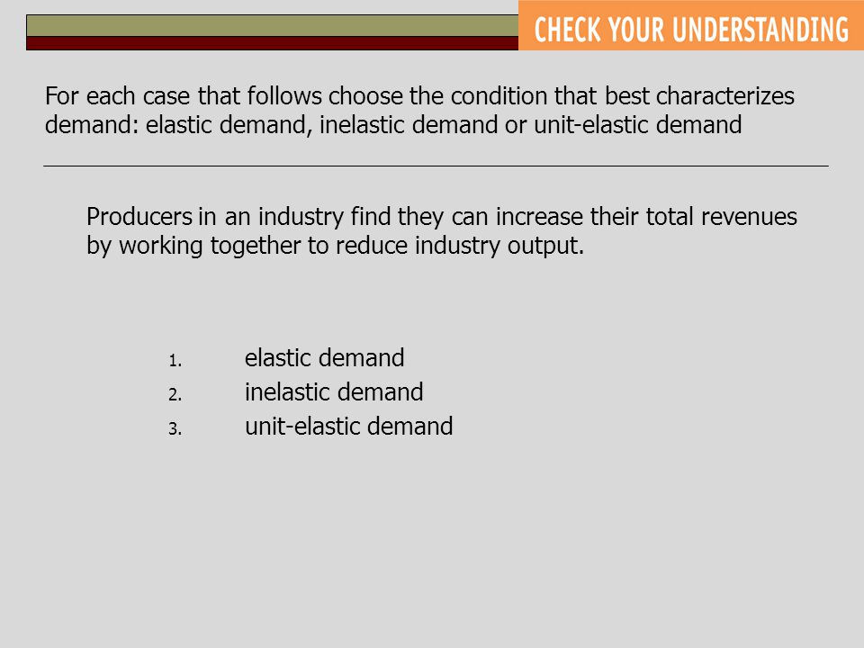 For each case that follows choose the condition that best characterizes demand: elastic demand, inelastic demand or unit-elastic demand