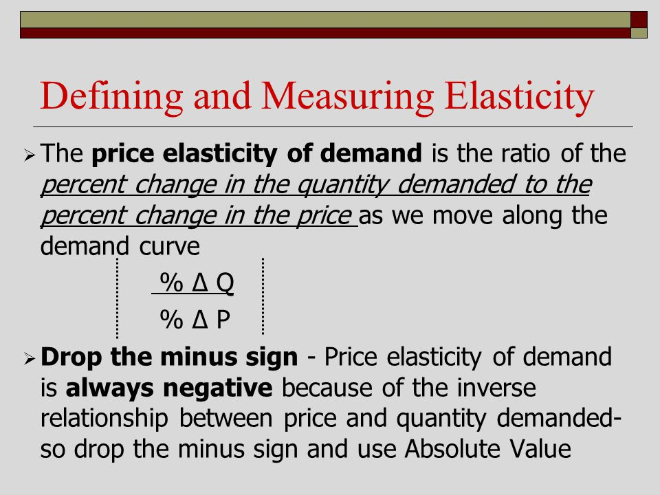 Defining and Measuring Elasticity