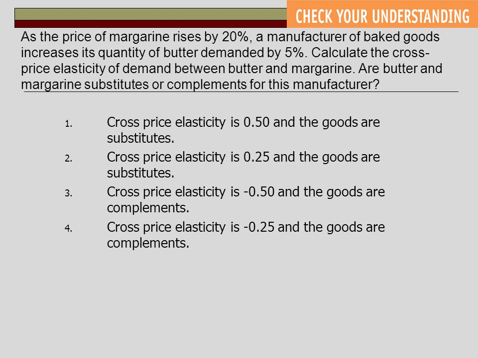 As the price of margarine rises by 20%, a manufacturer of baked goods increases its quantity of butter demanded by 5%. Calculate the cross-price elasticity of demand between butter and margarine. Are butter and margarine substitutes or complements for this manufacturer