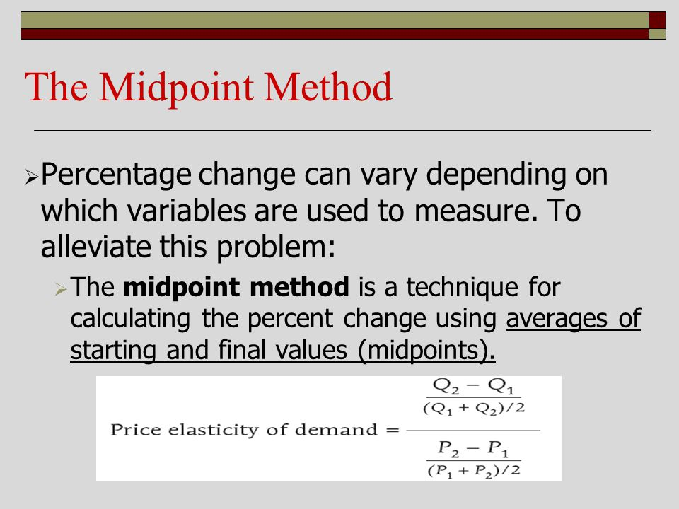 The Midpoint Method Percentage change can vary depending on which variables are used to measure. To alleviate this problem:
