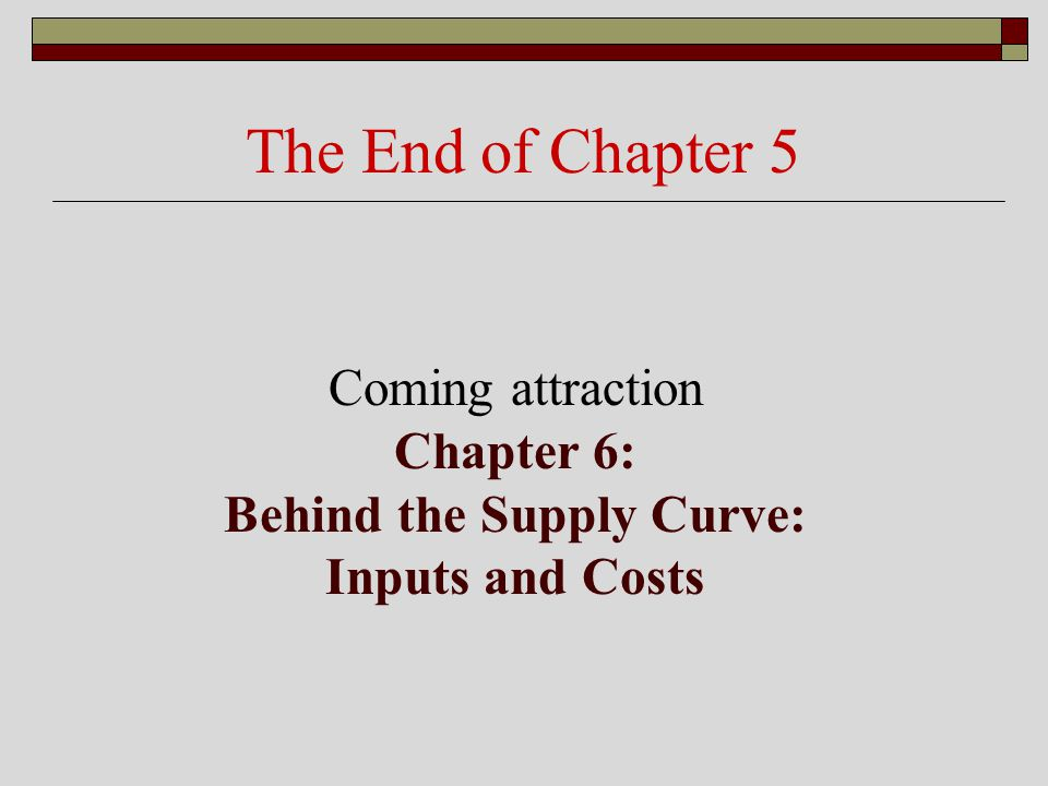 Coming attraction Chapter 6: Behind the Supply Curve: