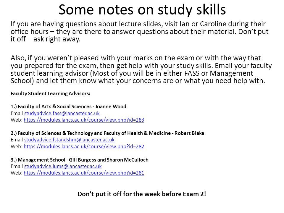 Some notes on study skills