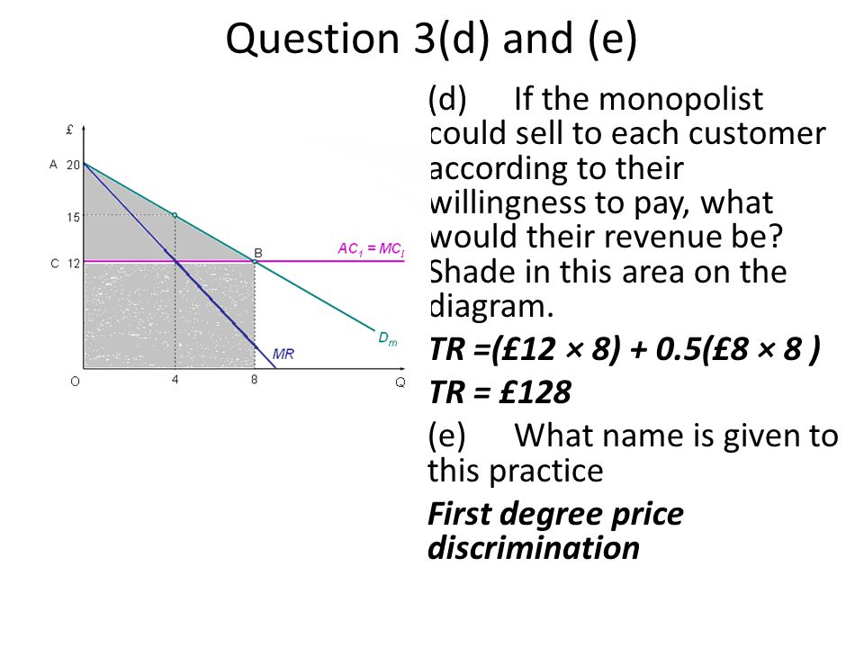 Question 3(d) and (e)