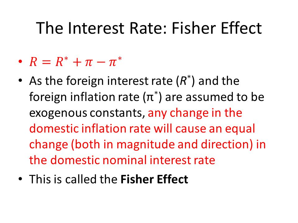 The Interest Rate: Fisher Effect