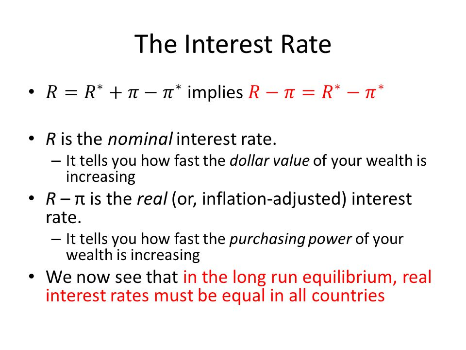 The Interest Rate 𝑅= 𝑅 ∗ +𝜋− 𝜋 ∗ implies 𝑅−𝜋= 𝑅 ∗ − 𝜋 ∗