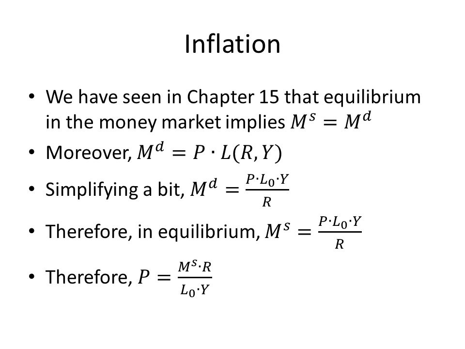 Inflation We have seen in Chapter 15 that equilibrium in the money market implies 𝑀 𝑠 = 𝑀 𝑑. Moreover, 𝑀 𝑑 =𝑃∙𝐿(𝑅,𝑌)