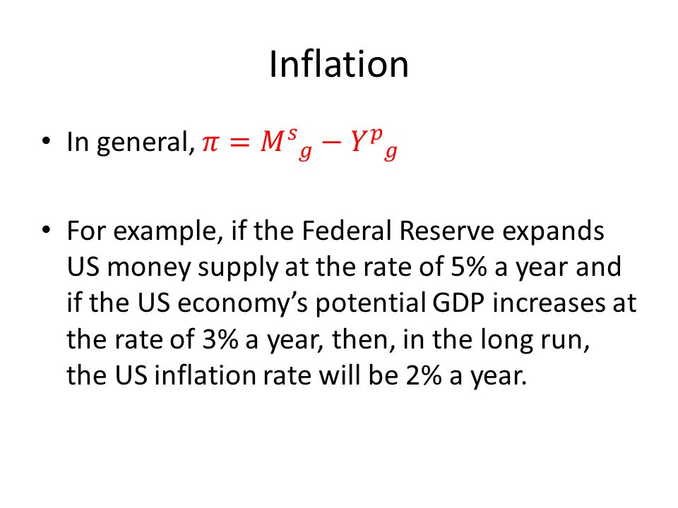 Inflation In general, 𝜋= 𝑀 𝑠 𝑔 − 𝑌 𝑝 𝑔