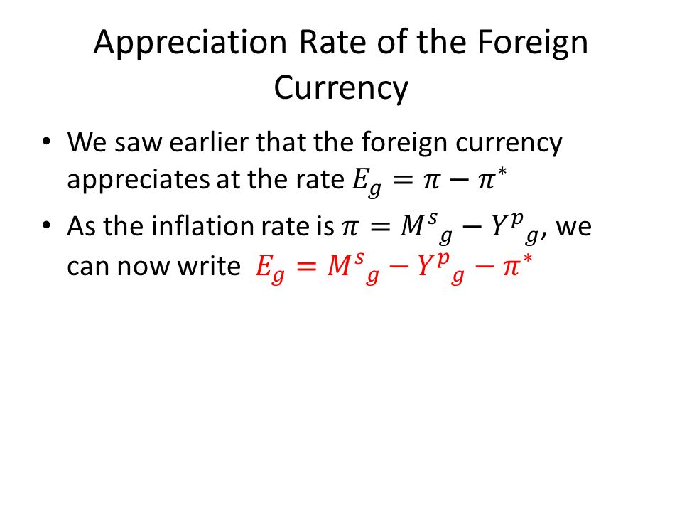 Appreciation Rate of the Foreign Currency