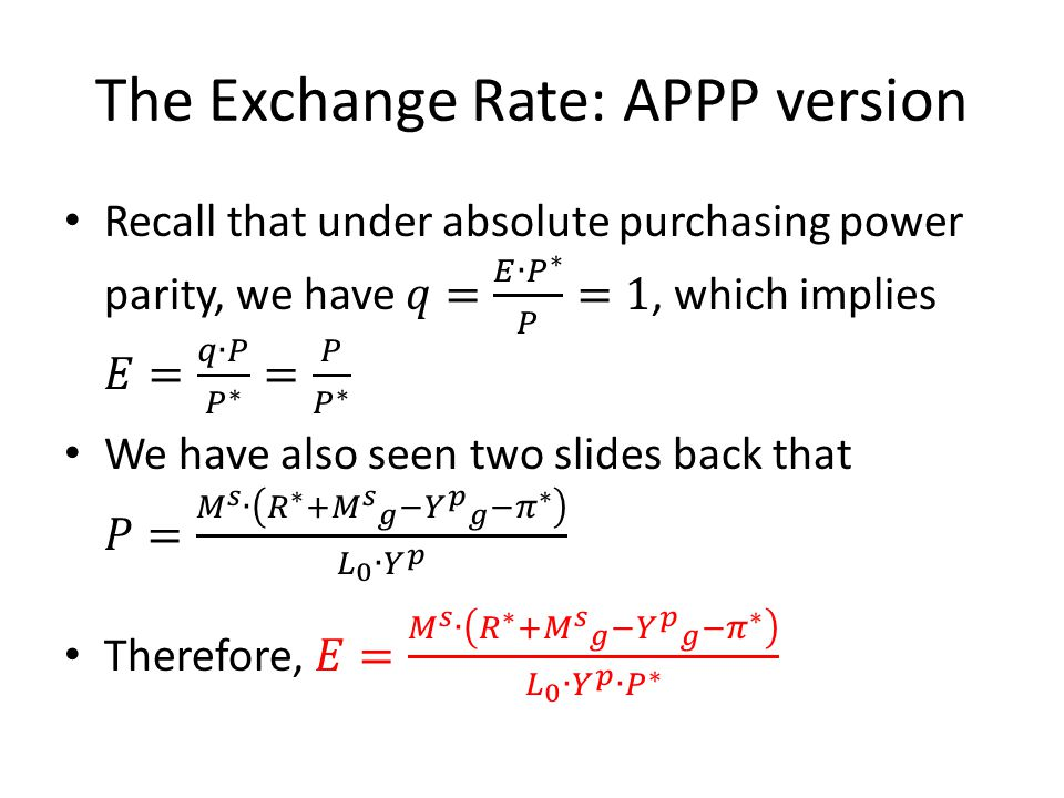 The Exchange Rate: APPP version