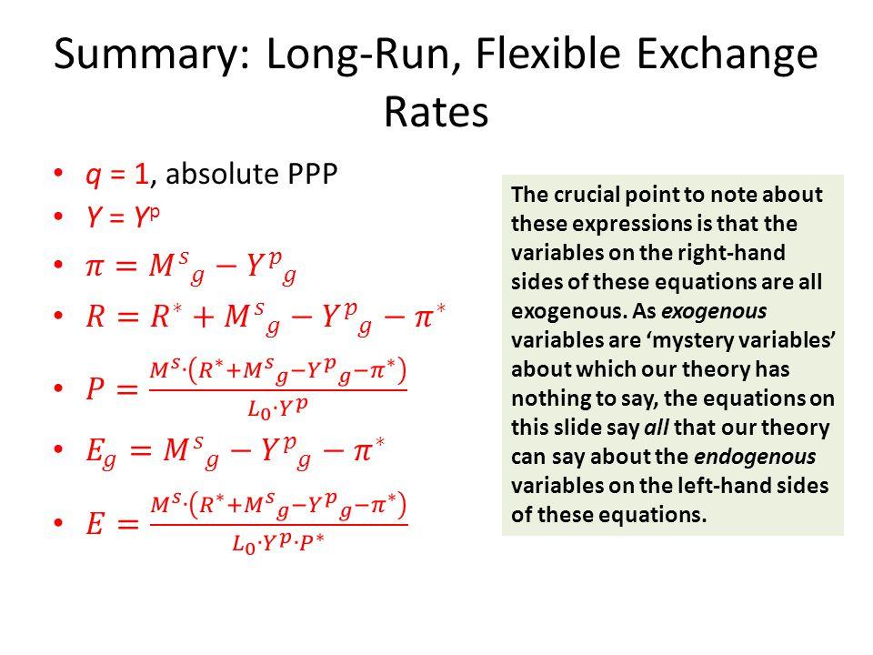 Summary: Long-Run, Flexible Exchange Rates