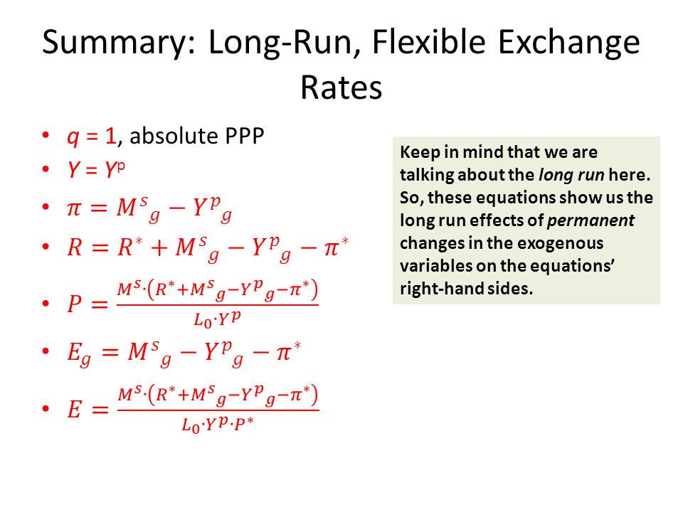 Summary: Long-Run, Flexible Exchange Rates