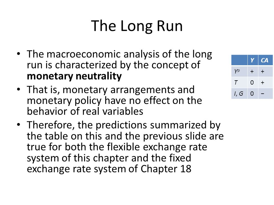 The Long Run The macroeconomic analysis of the long run is characterized by the concept of monetary neutrality.