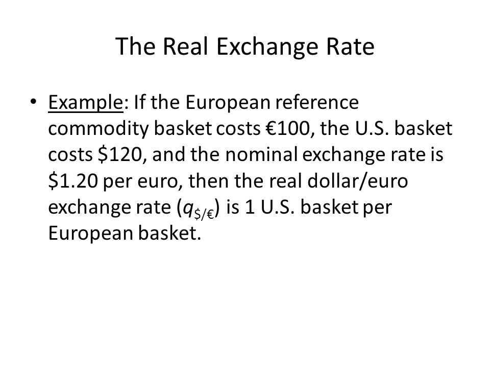 The Real Exchange Rate