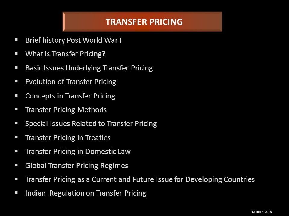 TRANSFER PRICING Brief history Post World War I