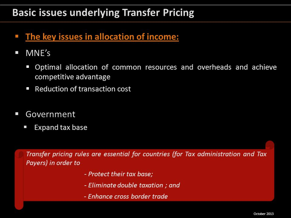 Basic issues underlying Transfer Pricing