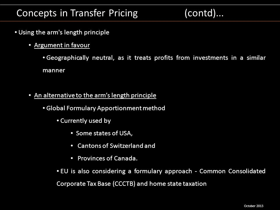 Concepts in Transfer Pricing (contd)...