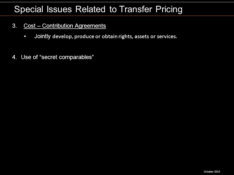 Special Issues Related to Transfer Pricing