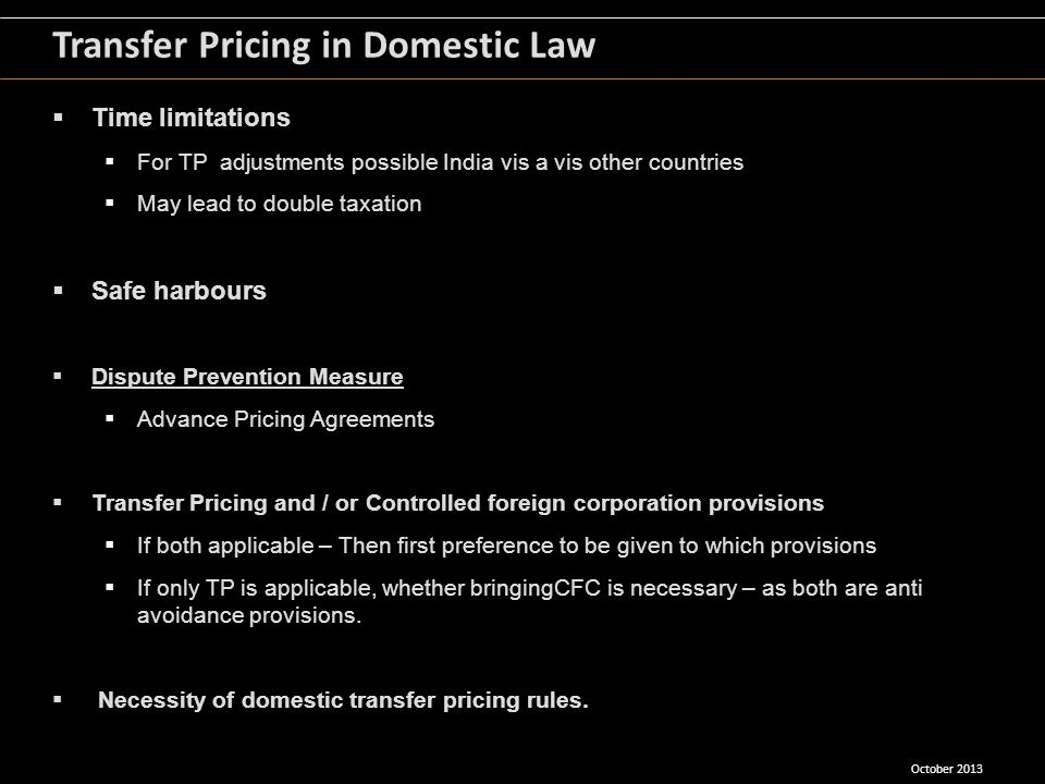 Transfer Pricing in Domestic Law
